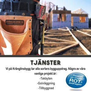 Krånglins Bygg AB| Tillbyggnad, Takbyte, Fönsterbyte, Golvläggning m.m.
